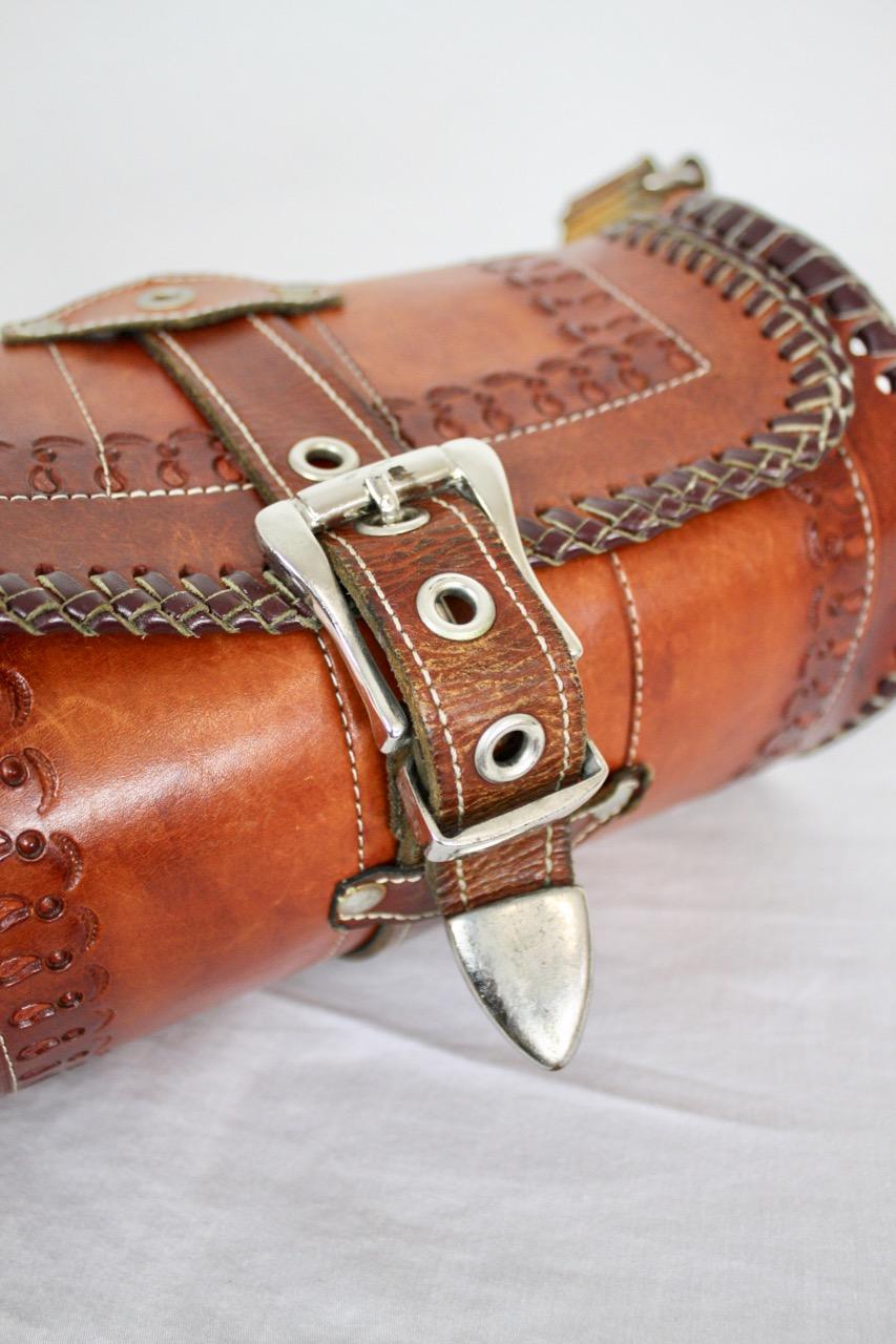 Vintage boho läderväska cylinderform