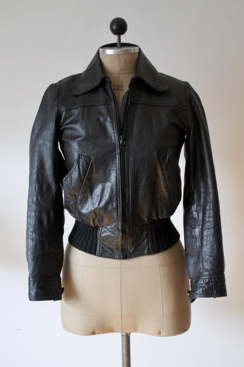 Svart vintage skinnjacka, stl XS