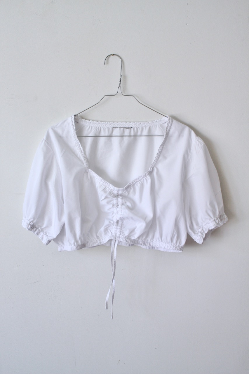 Vit Crop top i bomull, stl L