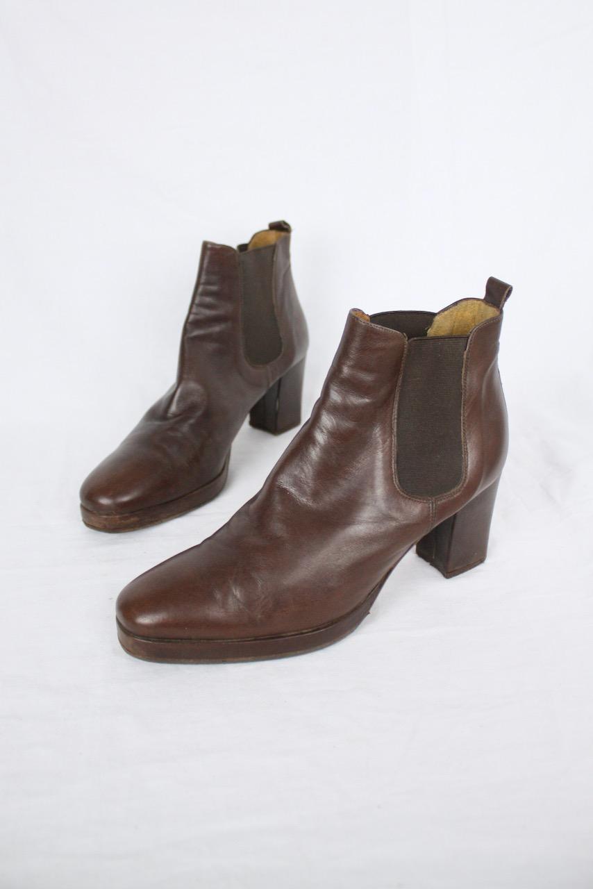 Mörkbrun stövlett i läder Rizzo, stl 37.5