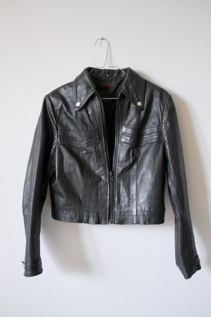 Vintage svart skinnjacka, stl S/M