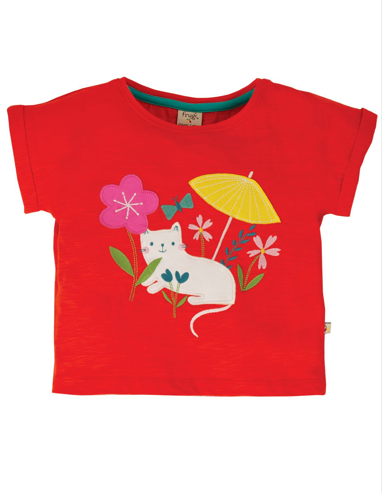 Frugi Sophia Slub T-shirt, Koi Red/Cat
