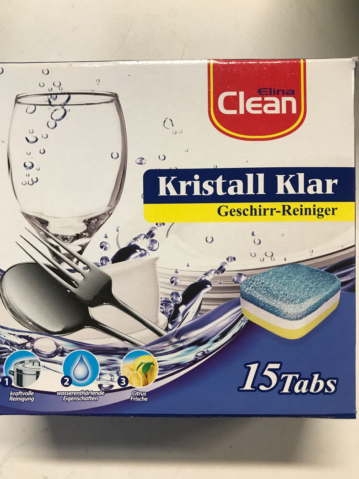 Diskmedelstabletter Kristallklar - 15 st / 3 i en