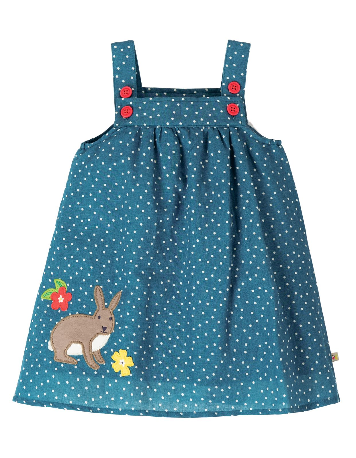 Frugi Hallie Linen Dress Steely Blue Scatter Spot Bunny