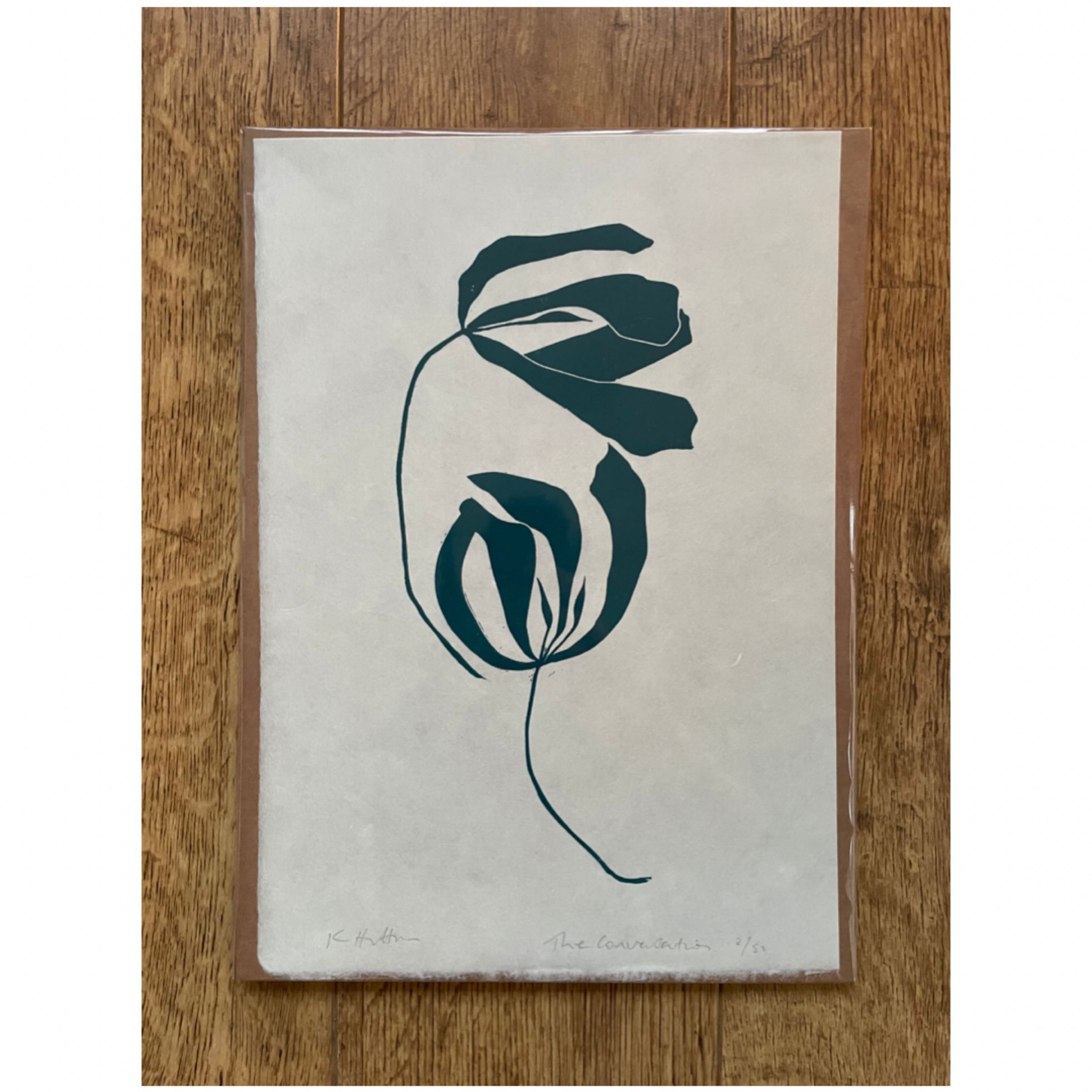 The Conversation. Lino print of two tulips in Teal by Kathy Hutton