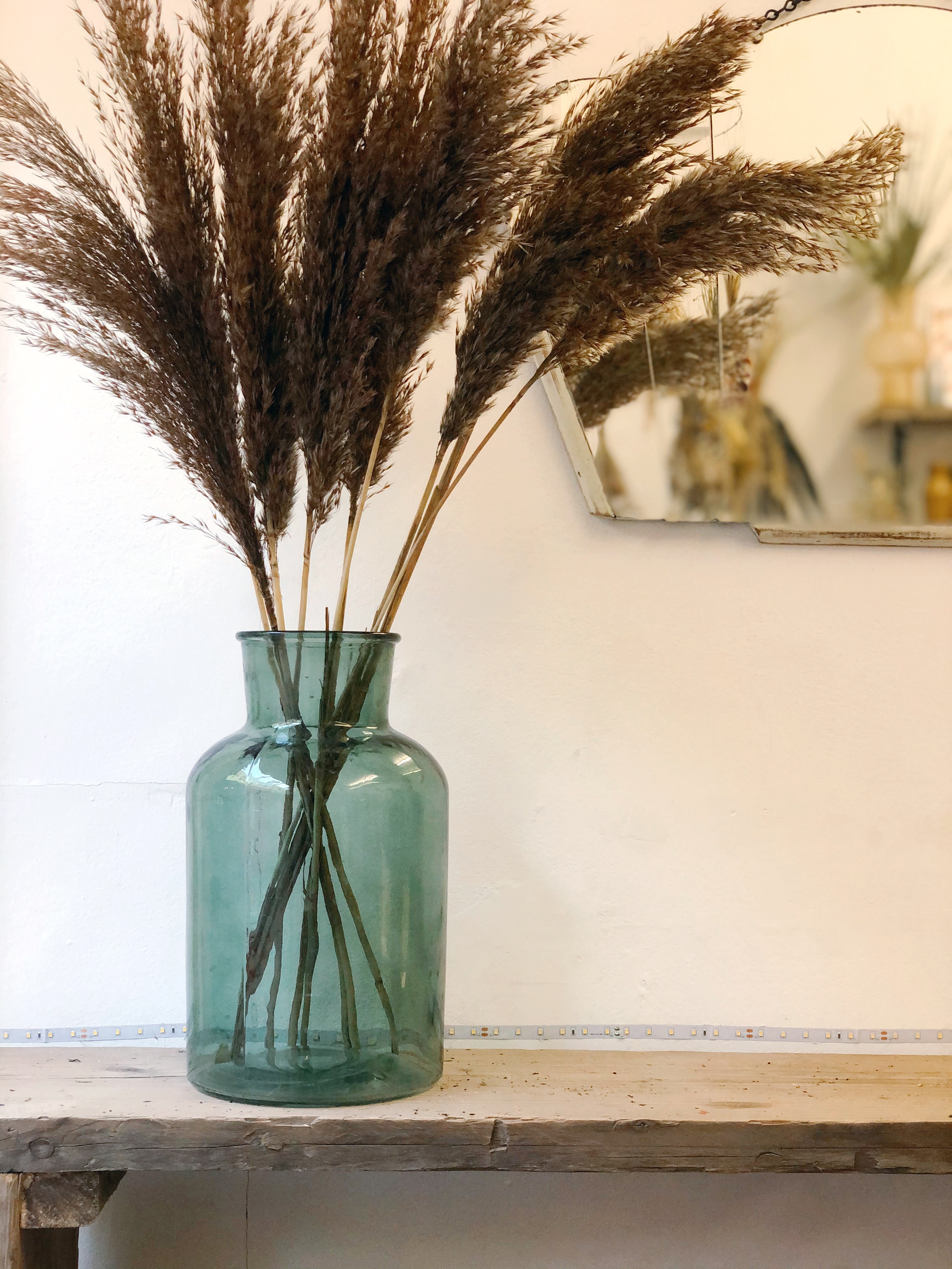 Glass vase in forest green