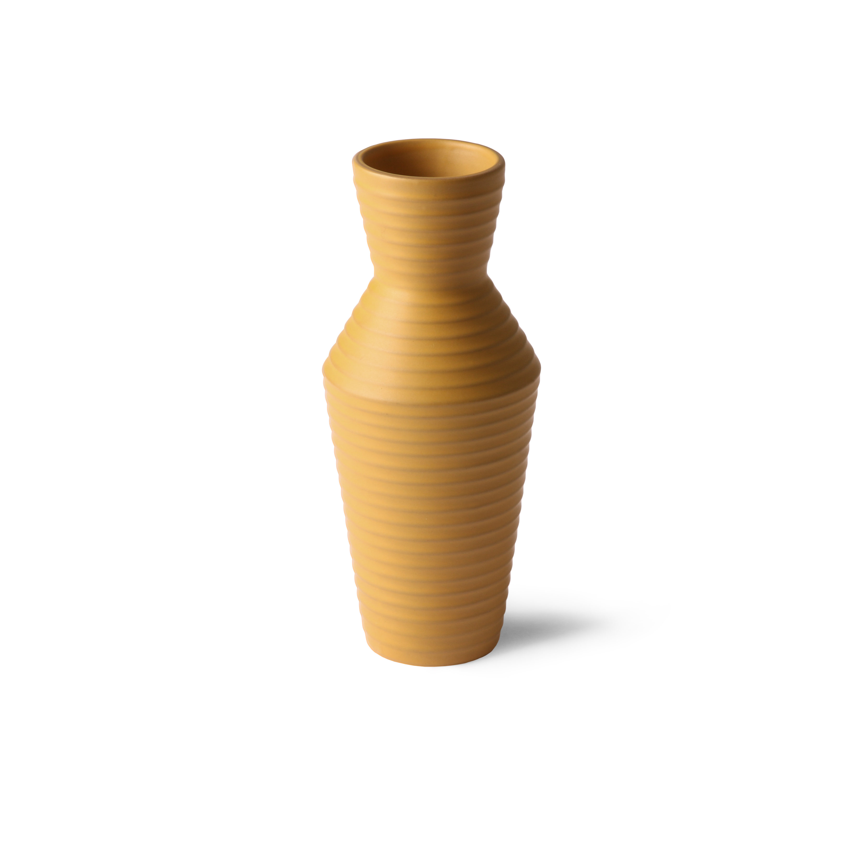 Ceramic flower vase ochre