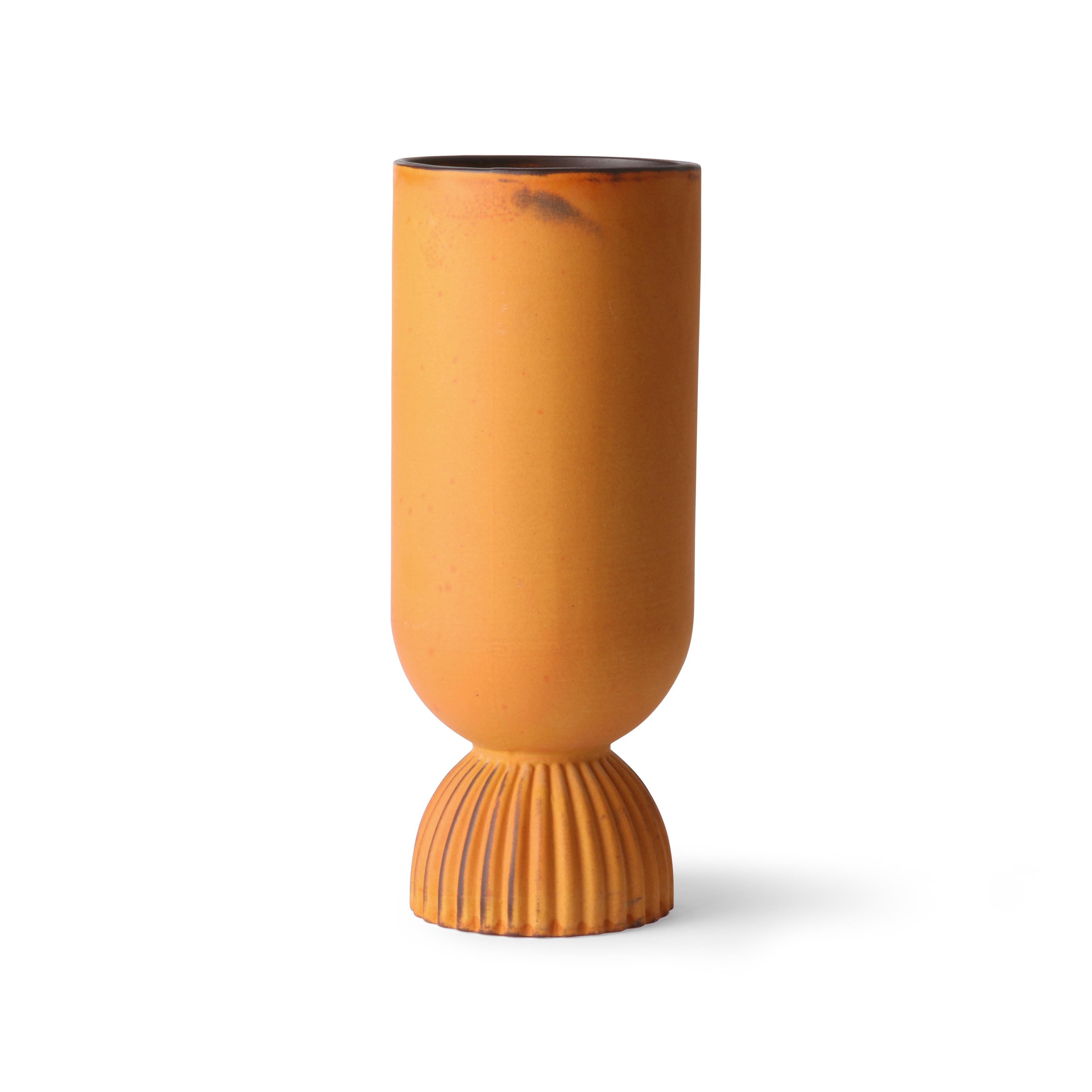 Ceramic flower vase ribbed base rustic