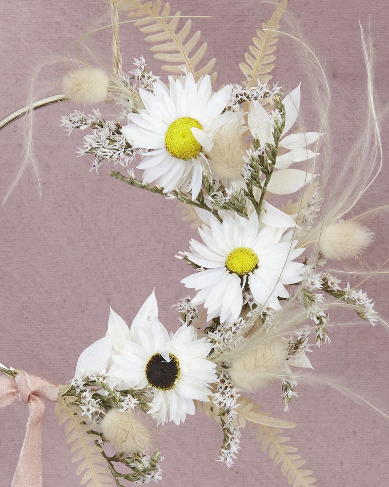 Mini white wreath with silk ribbon