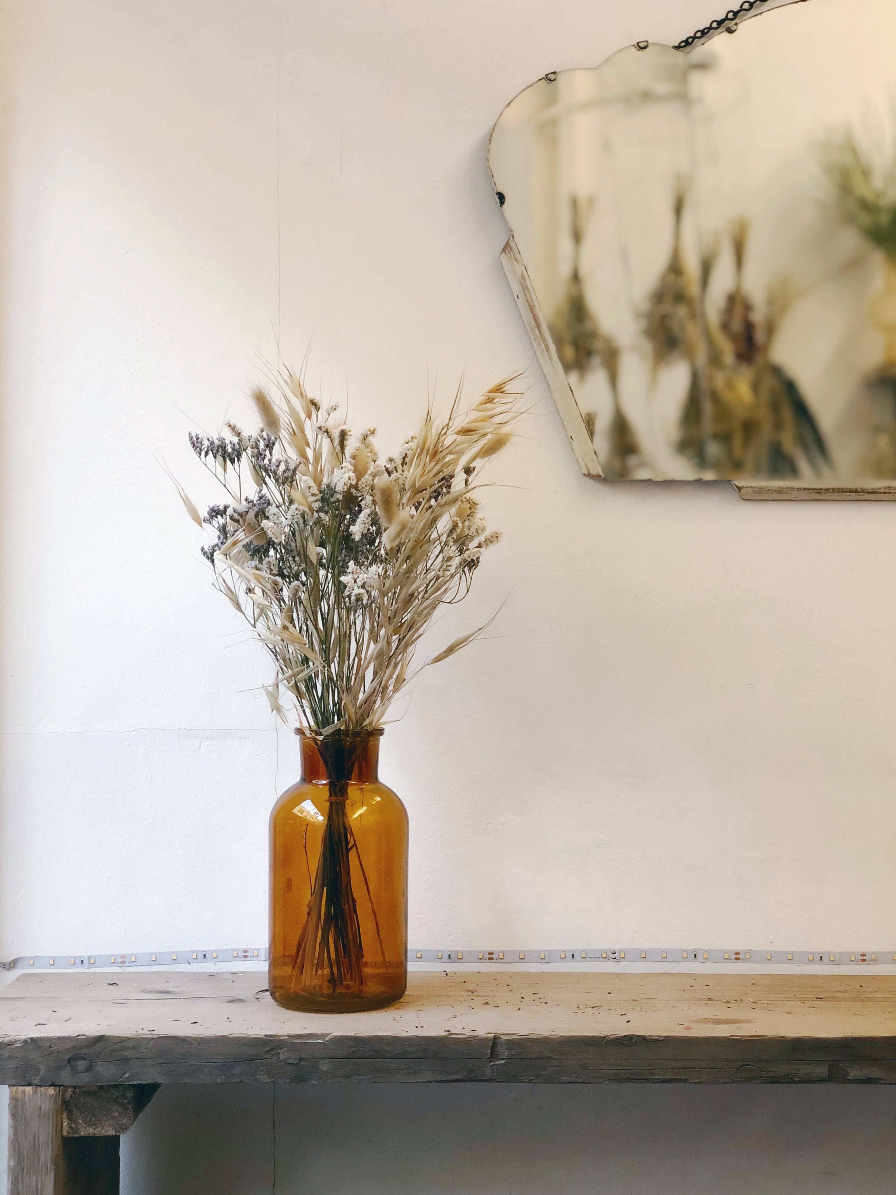 Glass vase in ochre