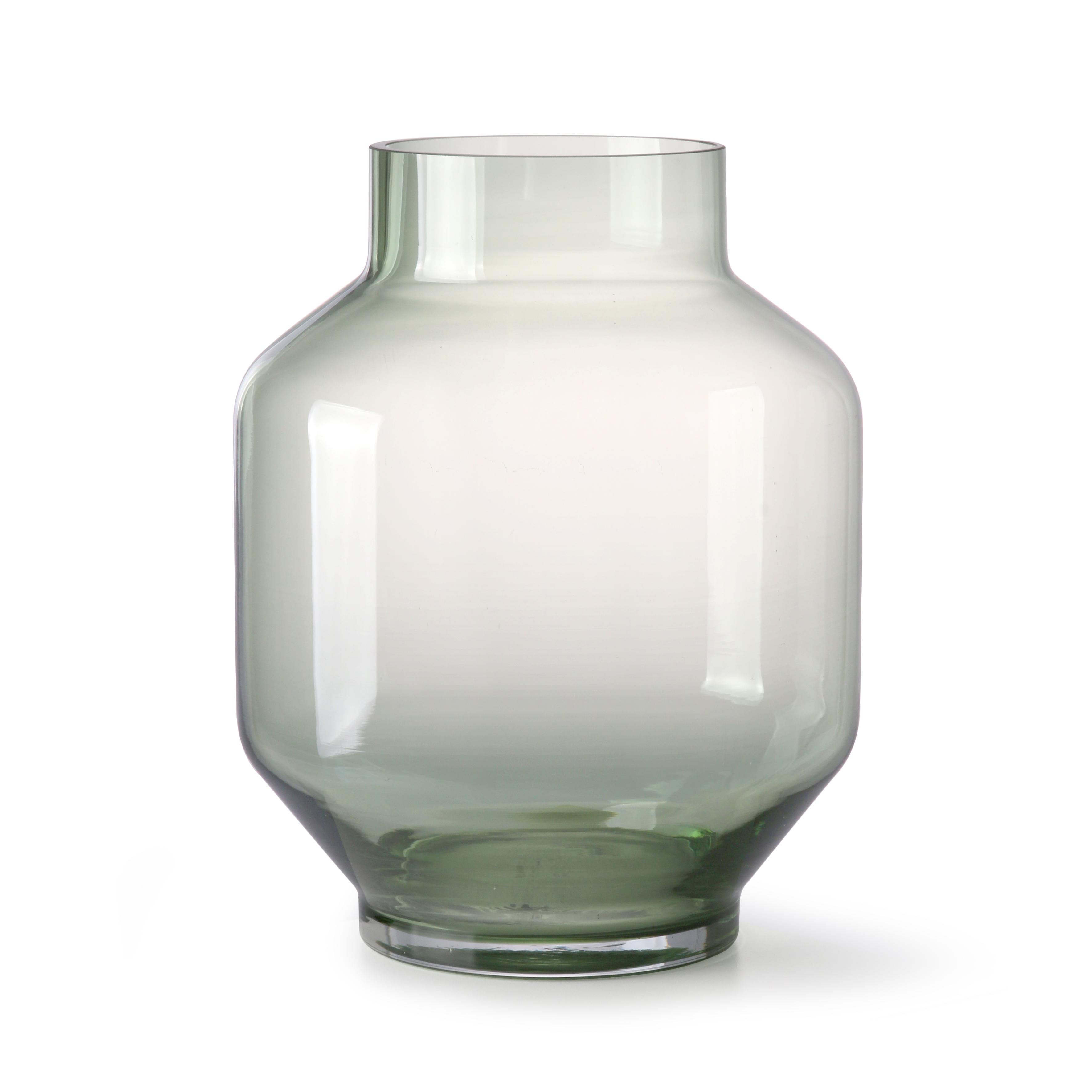 Green glass vase - round