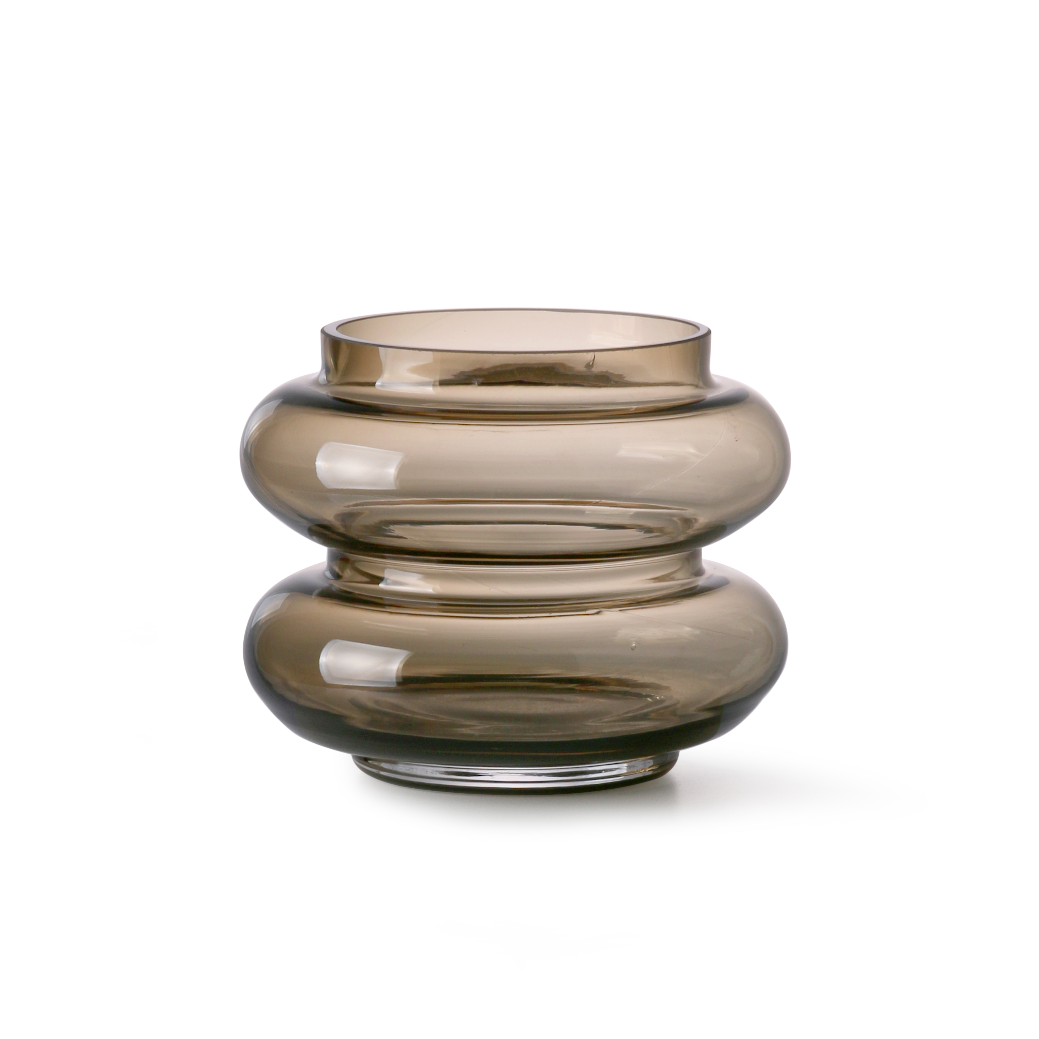 Smoked brown glass vase