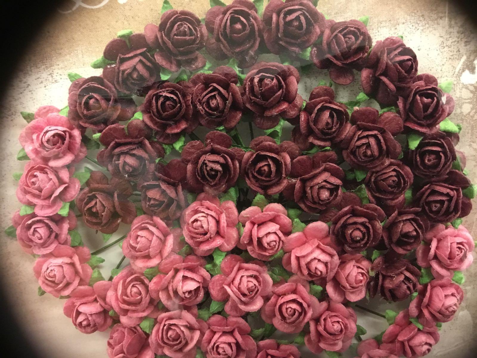 Papirdesign blomst, rose burgunder/rosa, 1,2 cm