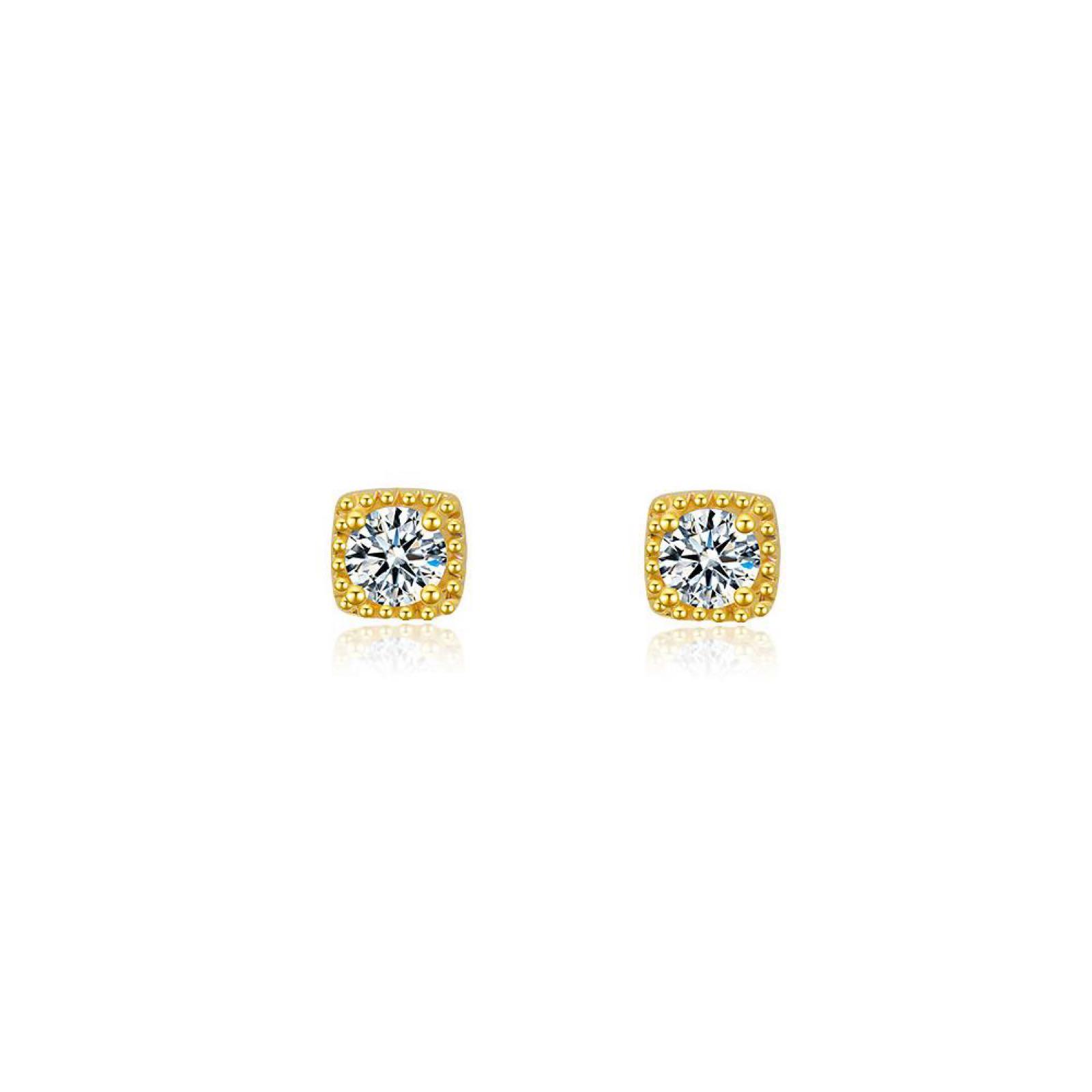 Last true angel Gold plated Cubic Zirconia stud earrings