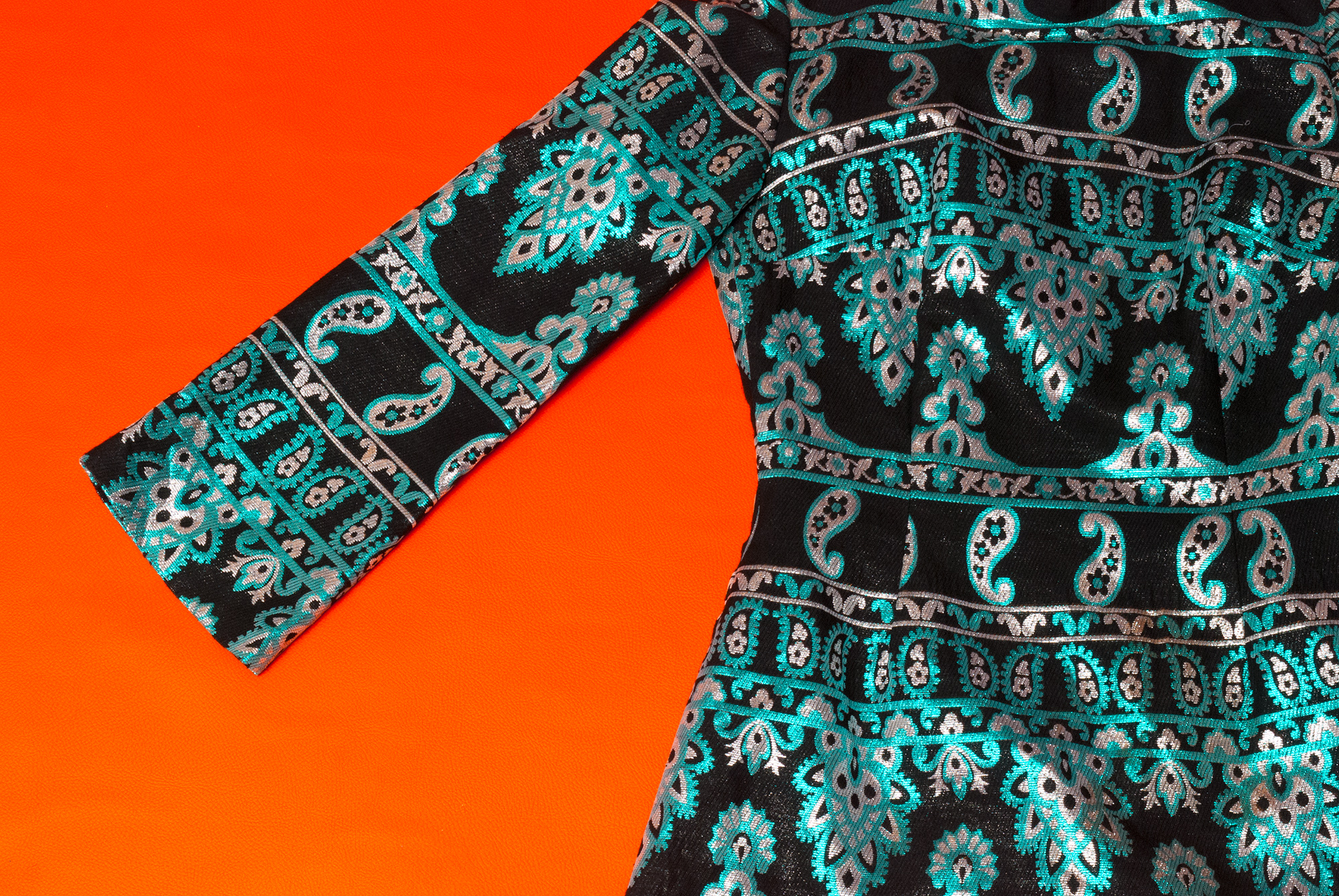 60's/70's Metallic Paisley Mini Dress