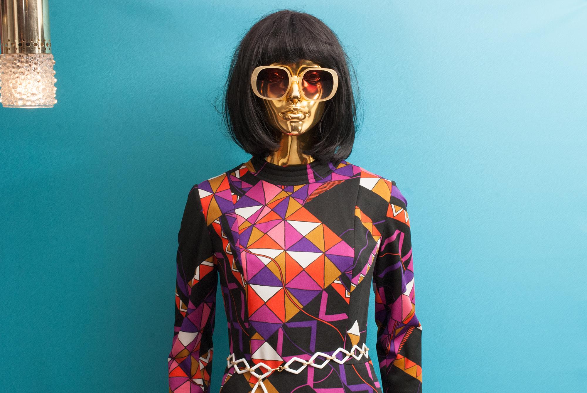 70's Geometric Pattern Maxi Dress