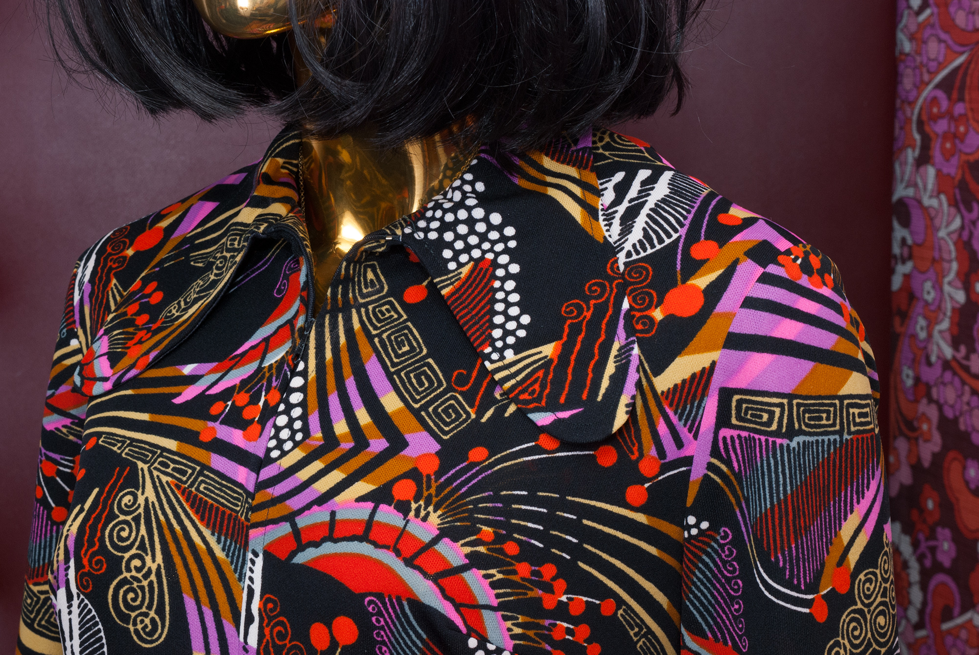 70's Pattern Polyester Party Dress