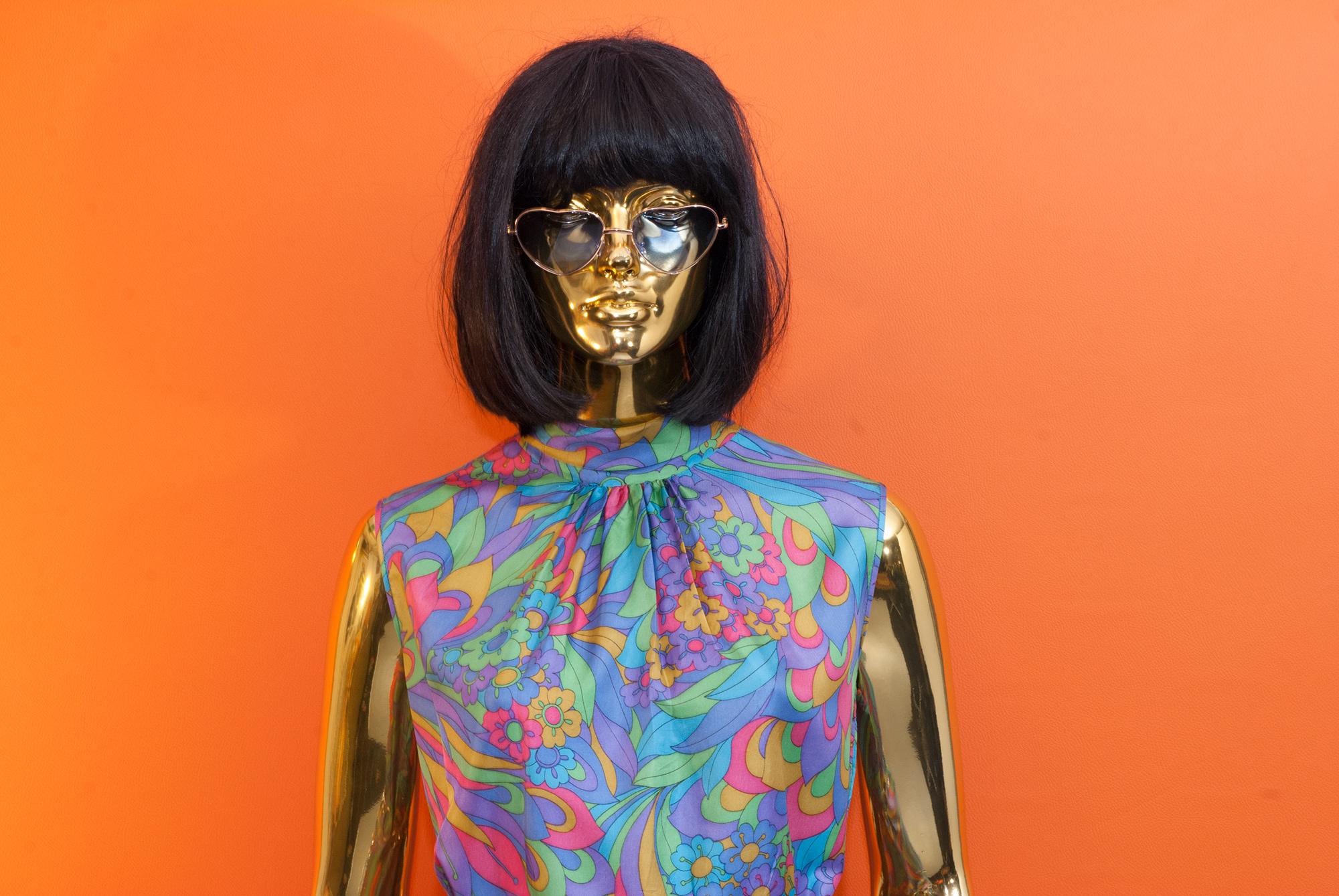 60's Psychedelic Satin Dress