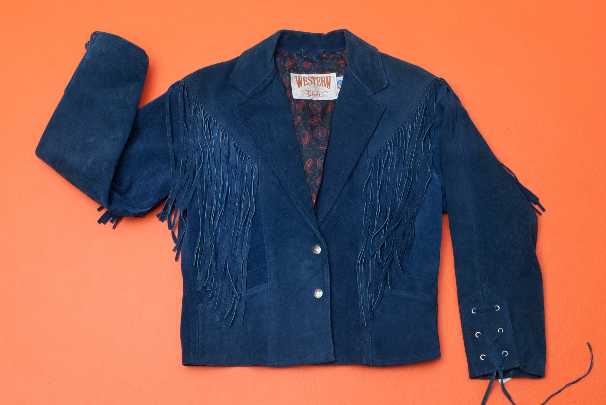 Schott Bros. Midnight Blue Fringe Jacket