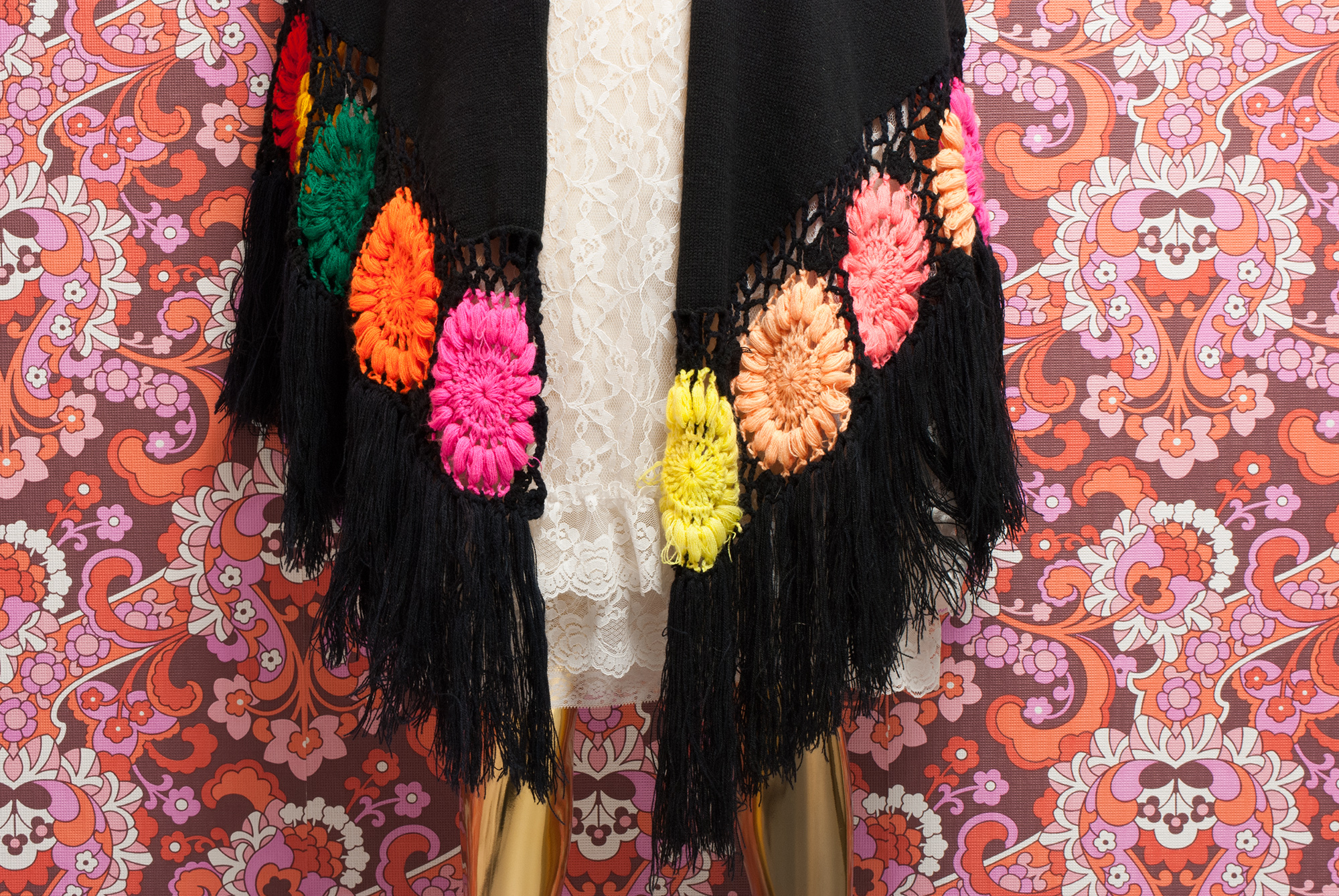 70's Knitted Maxi Shawl
