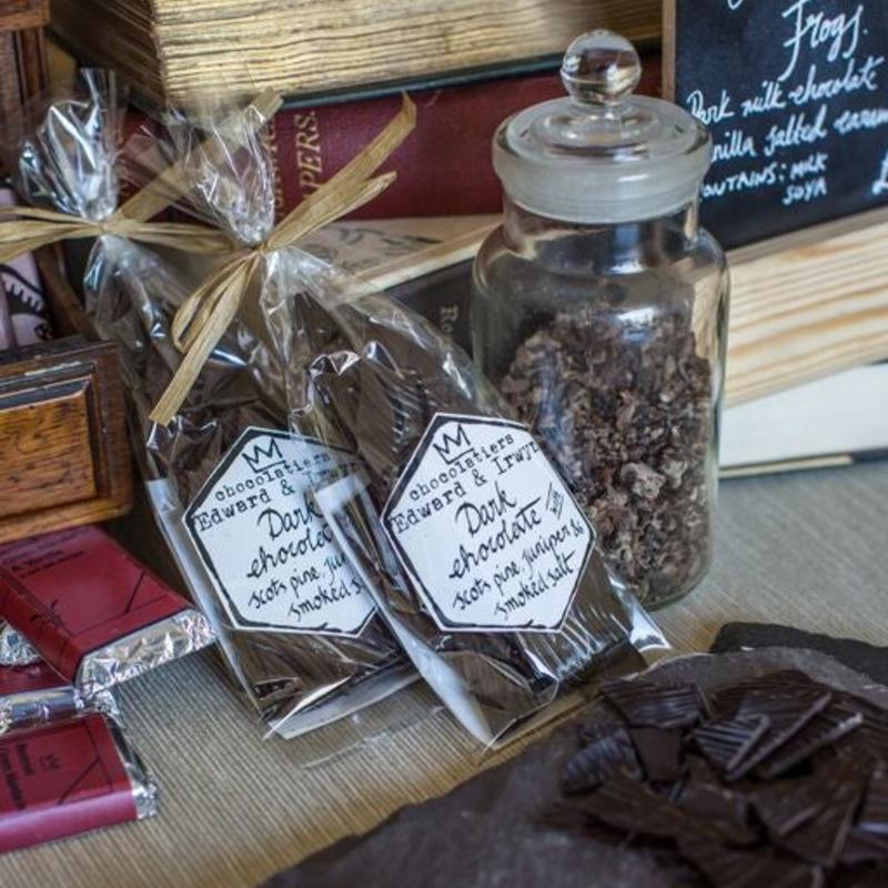 Dark Chocolate Shards, with Scots Pine, Juniper & Peat Smoked Salt