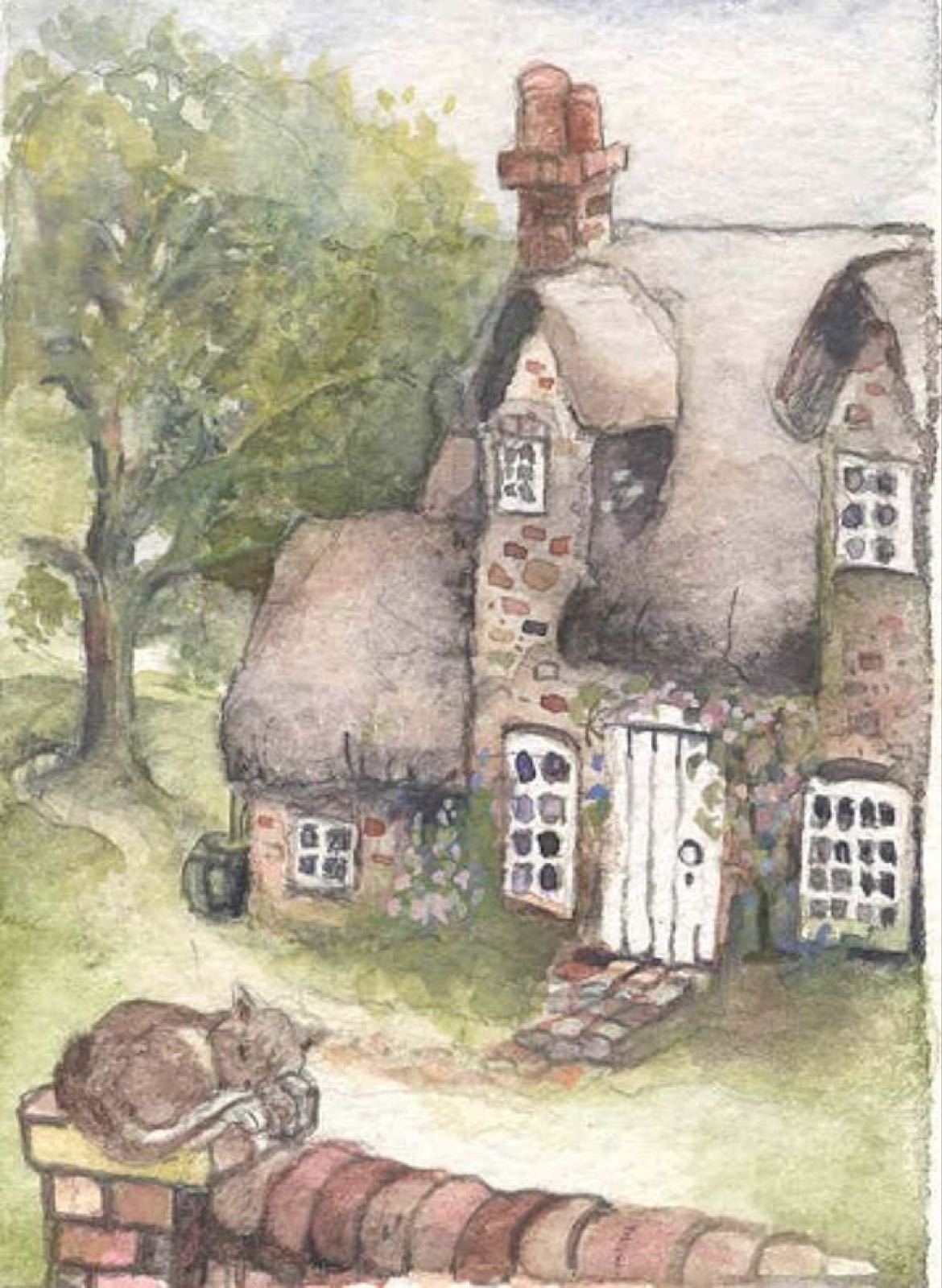 'Cottage Cat' Furzedown Gallery Mini Card