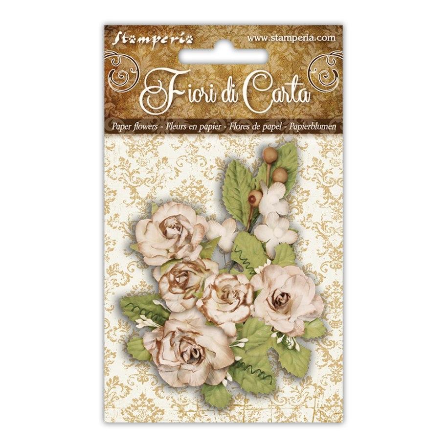 Vaaleat paperiruusut ja lehdet, Stamperia