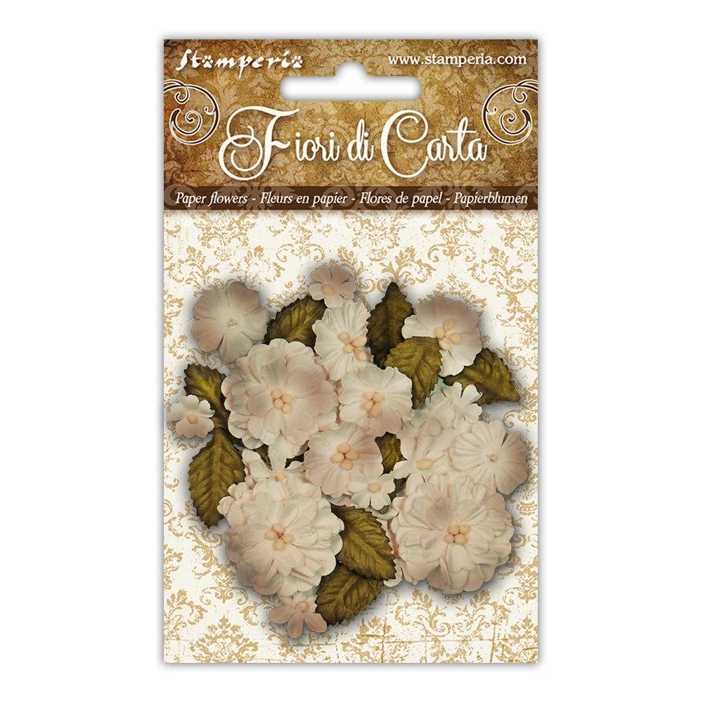 Vaaleat paperikukkaset Stamperia, 39kpl