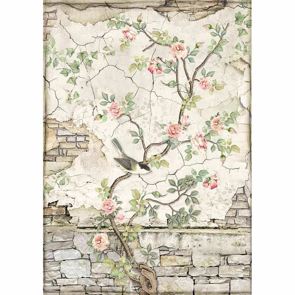 Riisipaperi Stamperia, A4-koko, Rose seinä