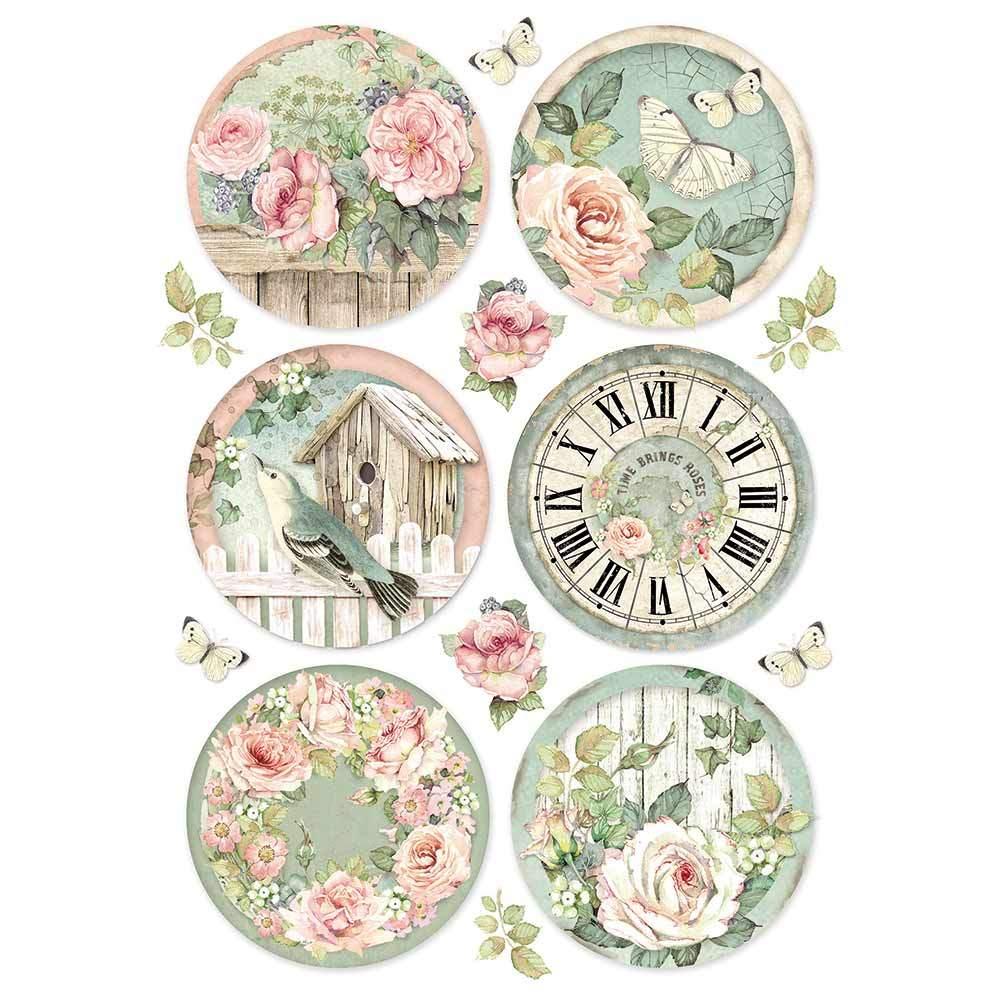 Riisipaperi Stamperia, A4, Rose ympyrät