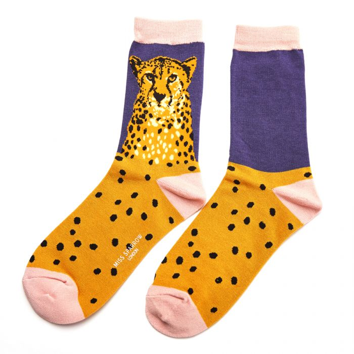 Wild Cheetah Blue Socks