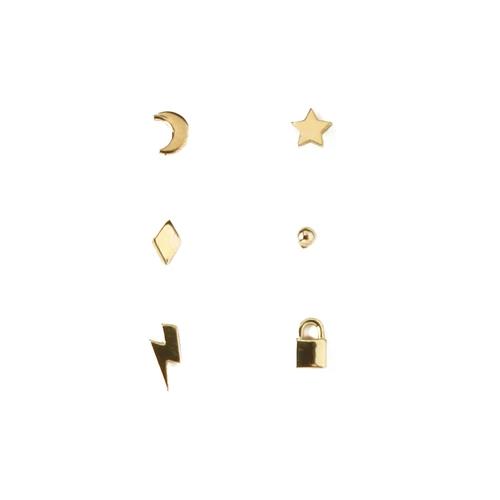 Gold Mixed Charm 6 Pk Stud Ear Part