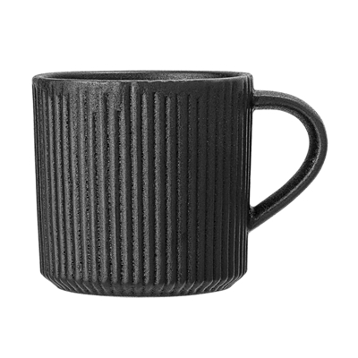 Neri Black Ribbed Mug