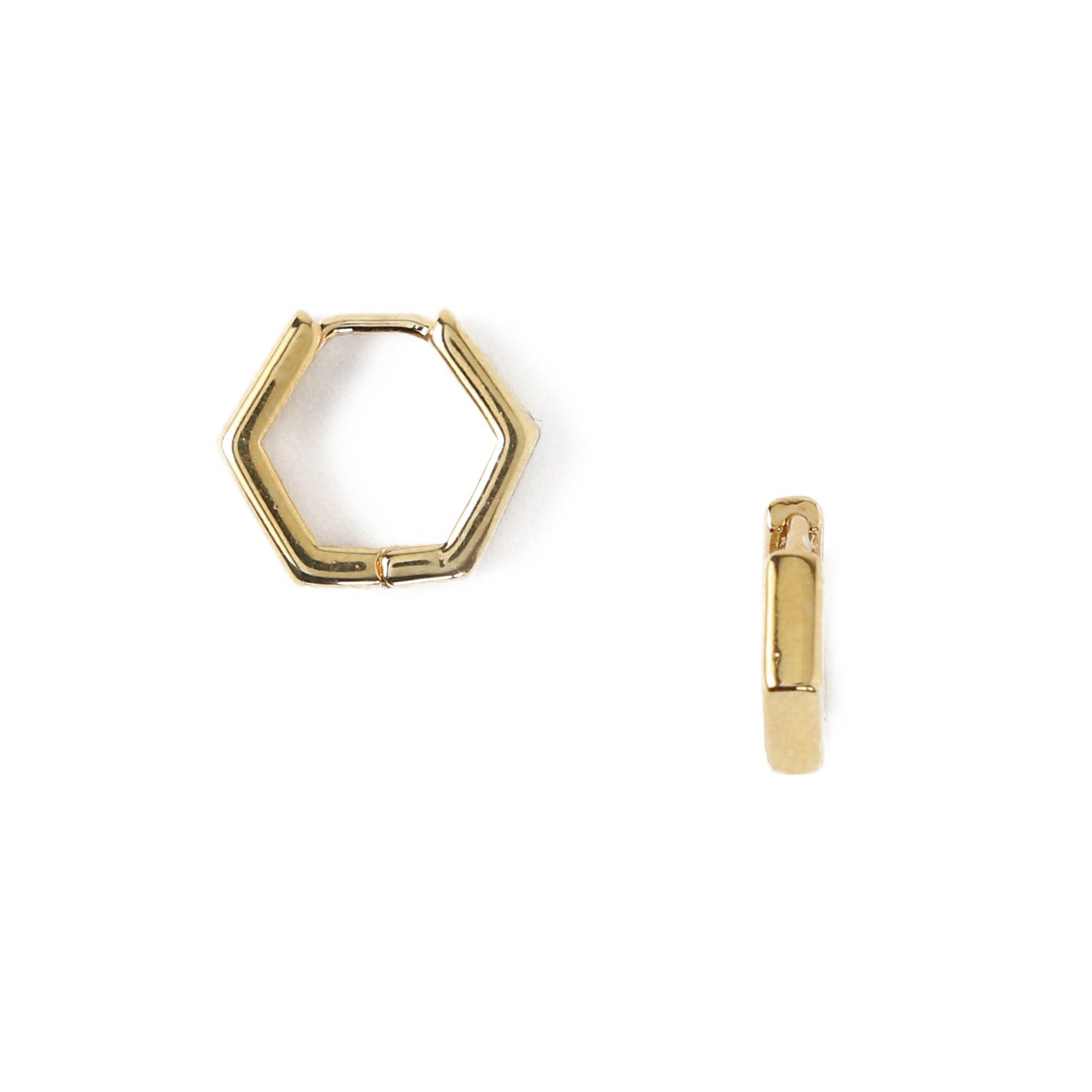 Hexagon Gold Huggie Hoops