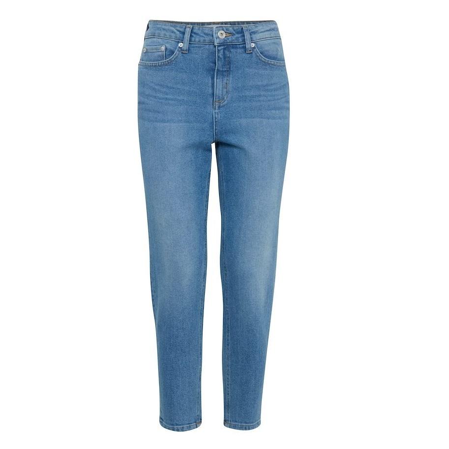 Luva regular cropped jean light blue