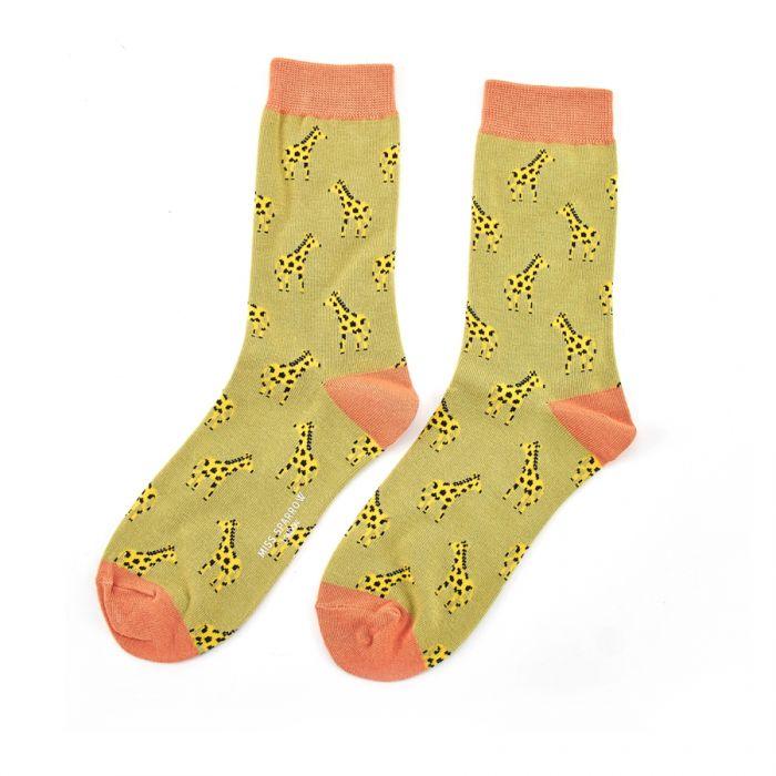 Little Giraffes Socks Olive