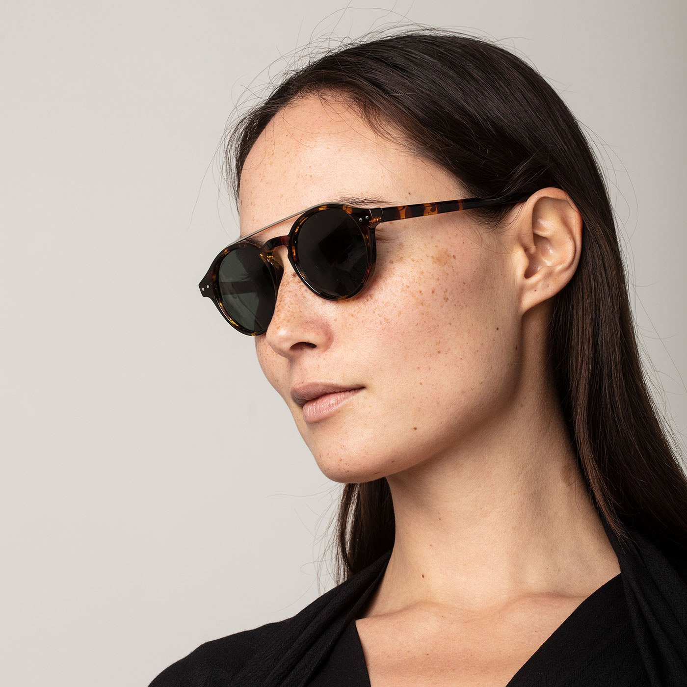 Carrie Silver Plated Sunglasses Brown