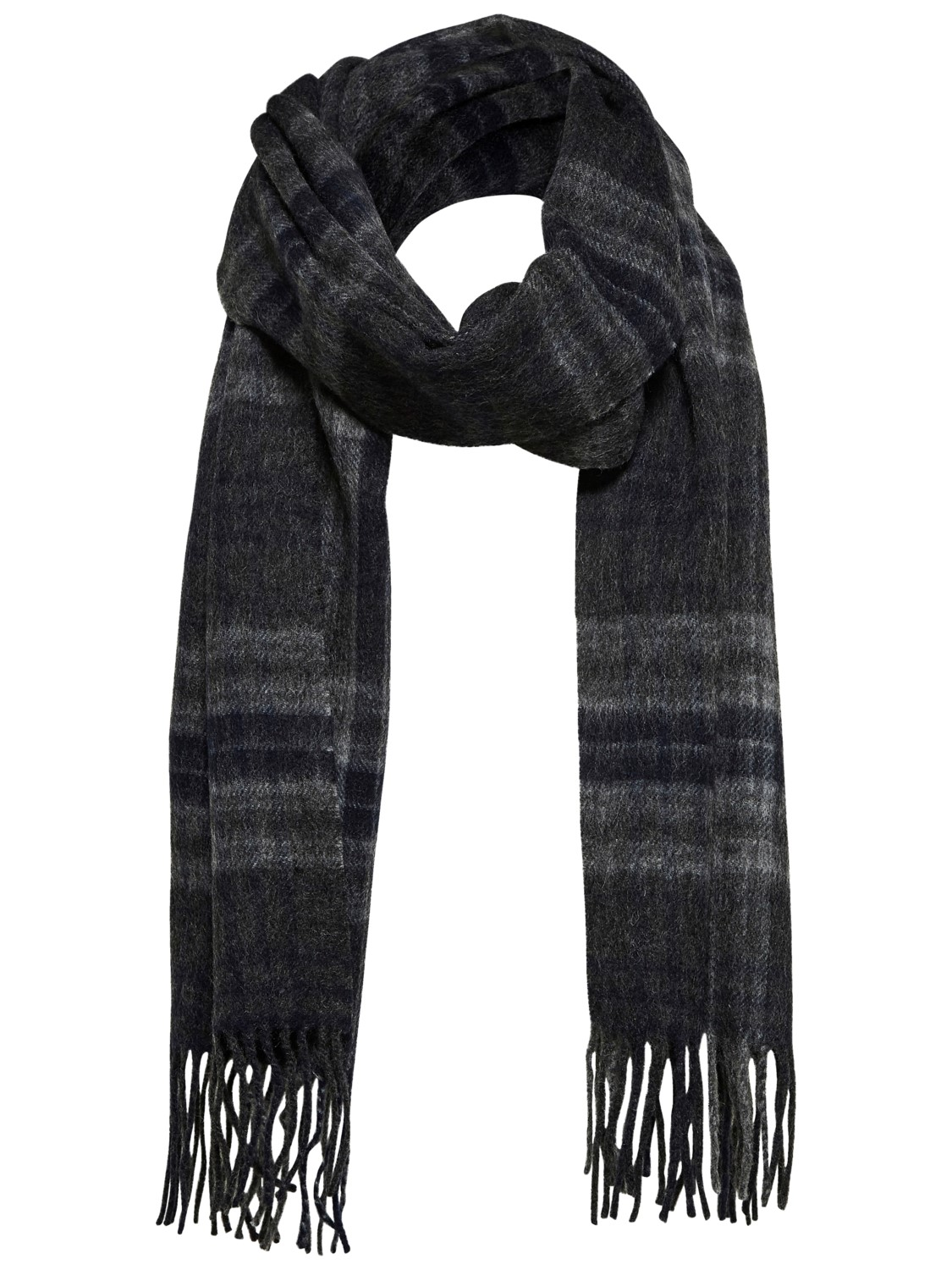 SALE Grey and Navy Check scarf