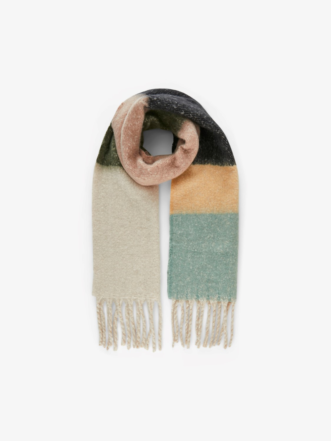 Bea Natural Cream,Brown & Green Scarf
