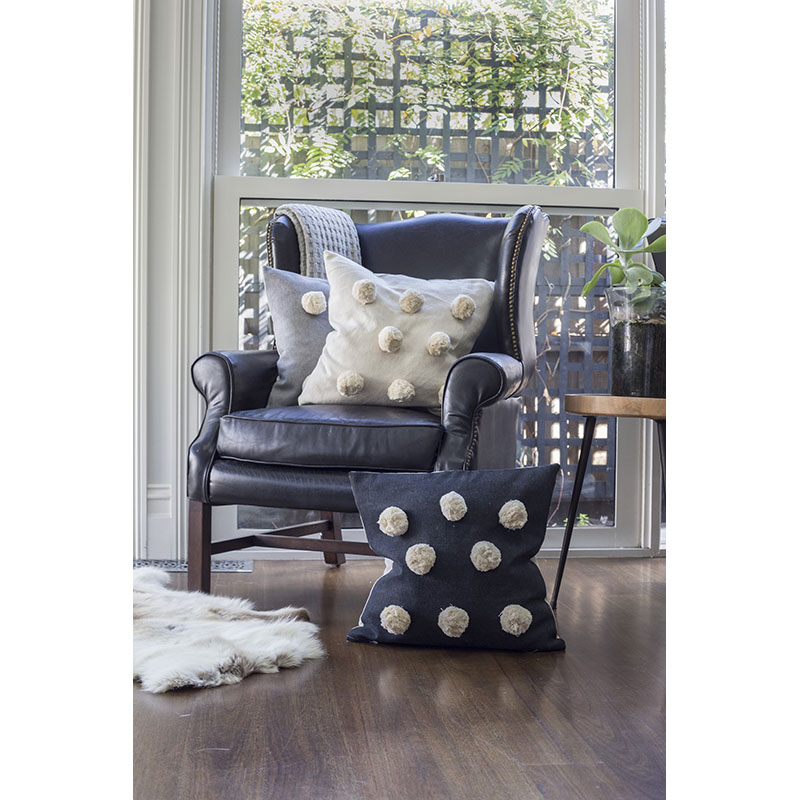 Giant Pom Pom cushion black