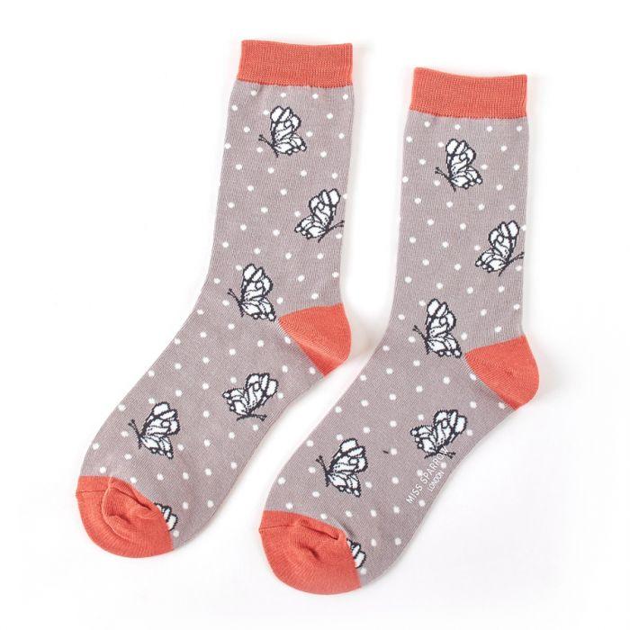 Grey Butterfly Socks