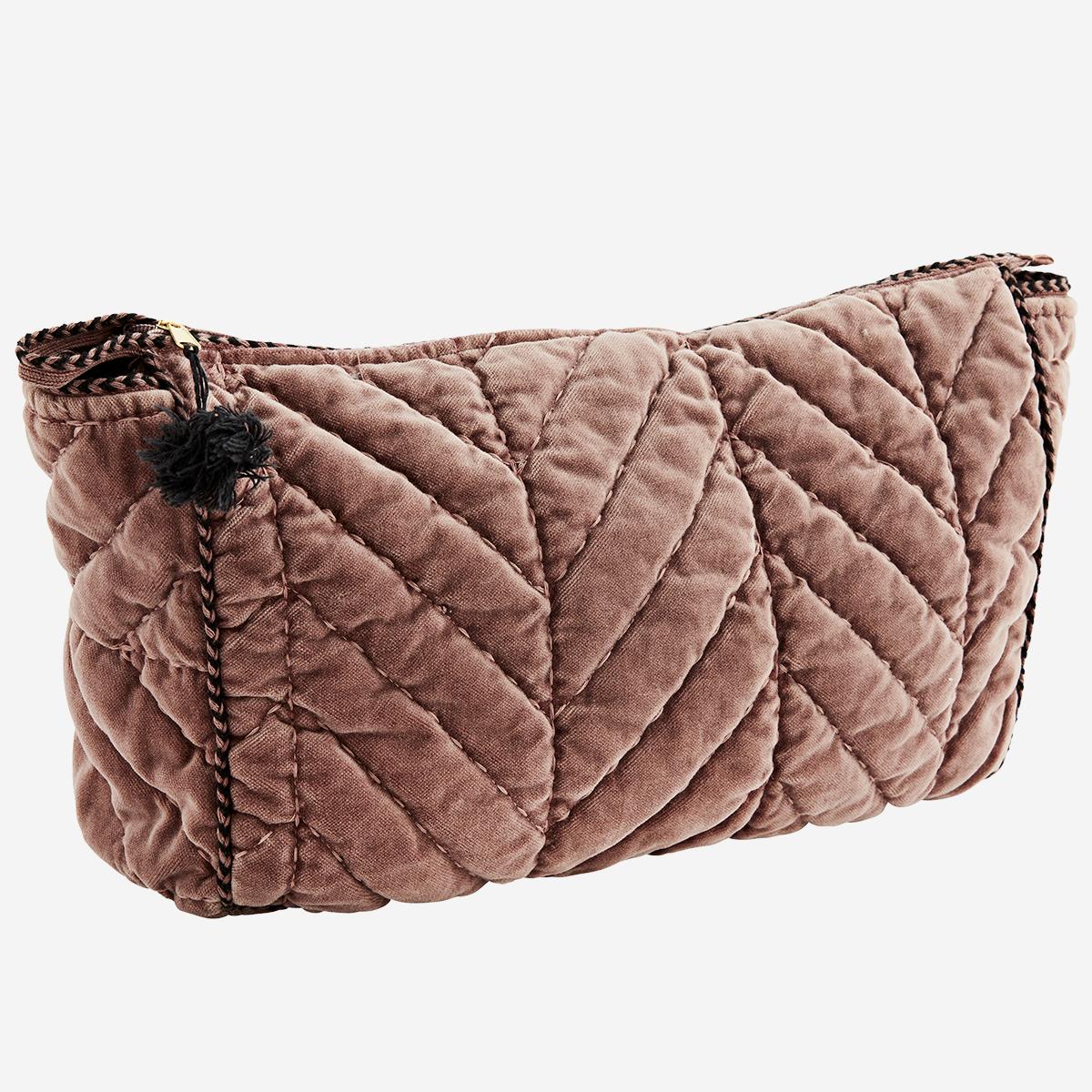 Rose quilted velvet wash bag