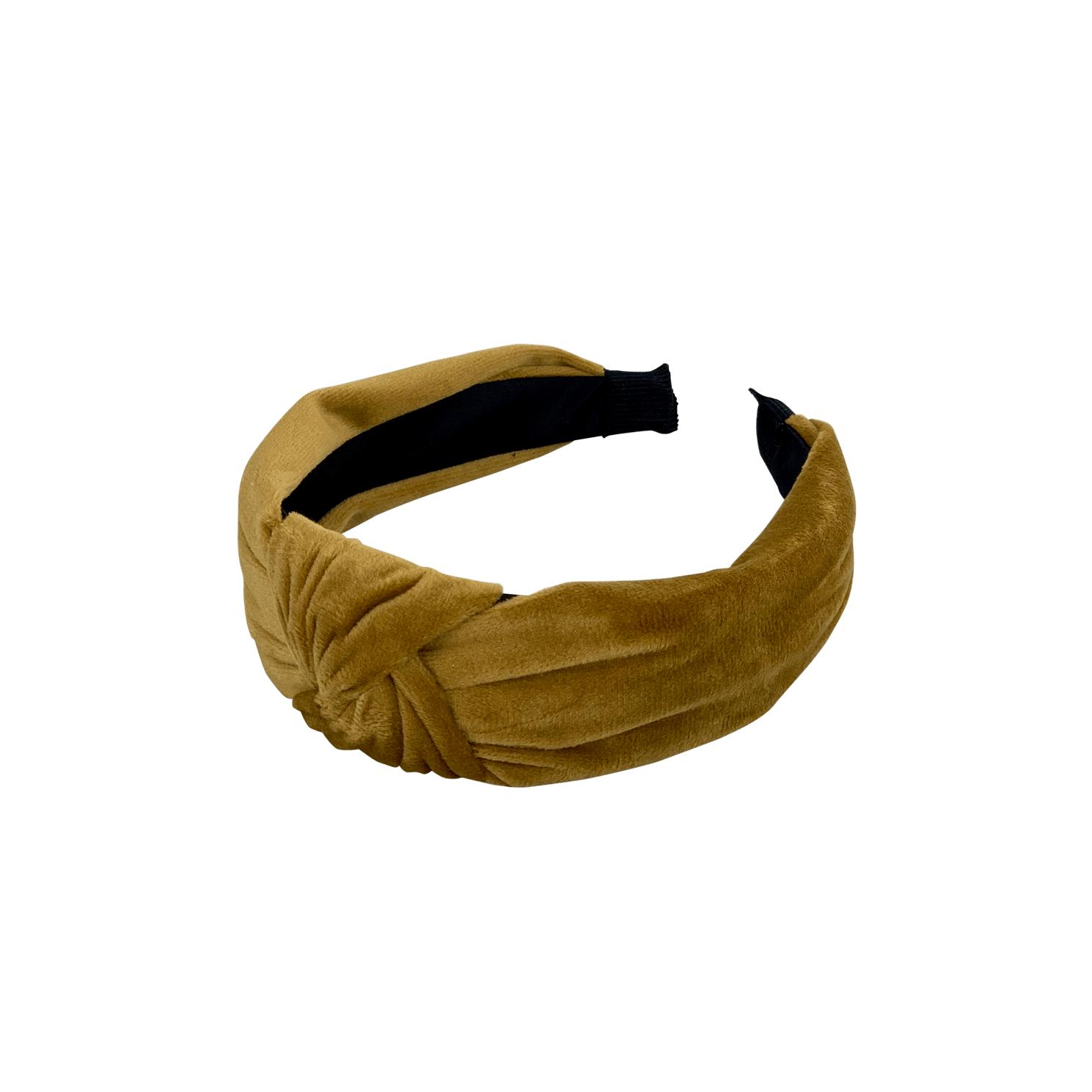 Plain Velour Headband Mustard