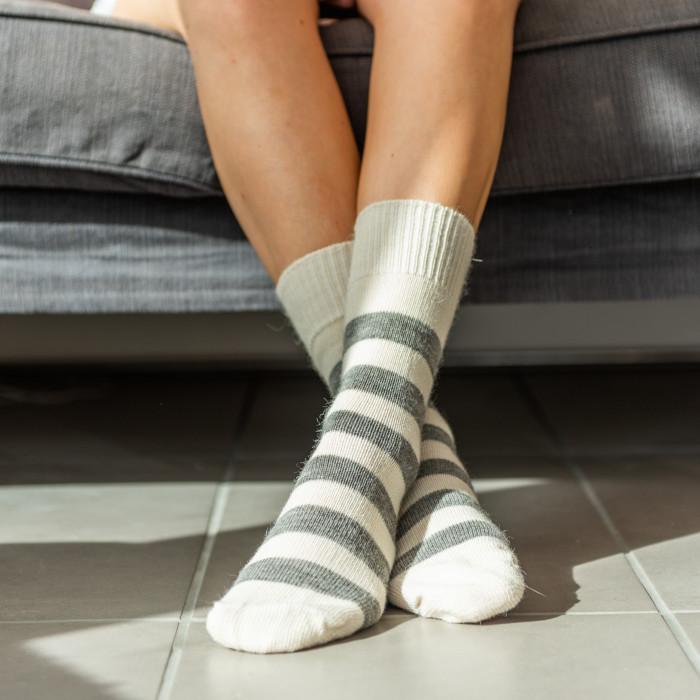 Alpaca Socks Cream & Grey Stripe