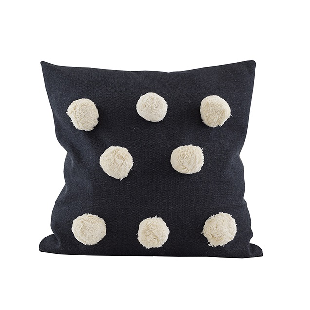 Giant Pom Pom cushion black