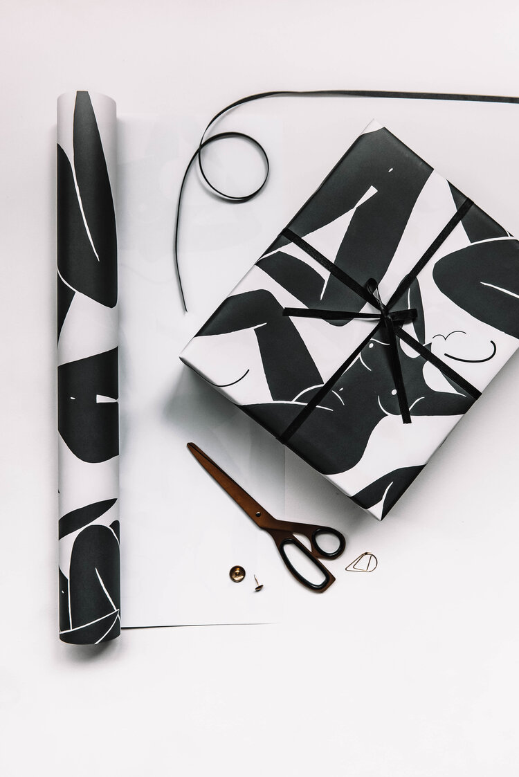 Naked Ladies Gift Wrap Black & White