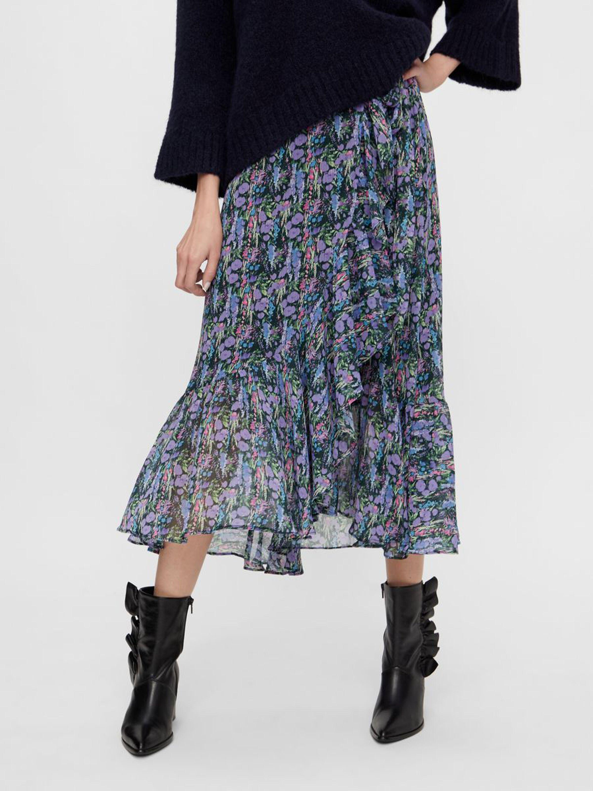 Esmeralda Floral Wrap Midi Skirt
