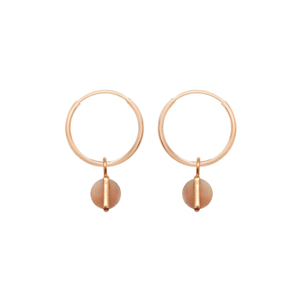 Cora creole rose gold earrings with Rupa peach moonstone