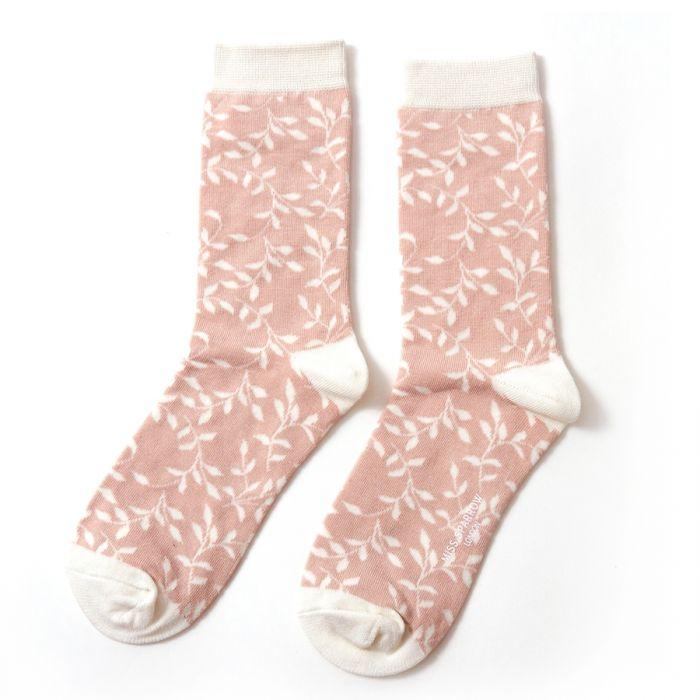 Trailing Leaves Socks Dusky Pink