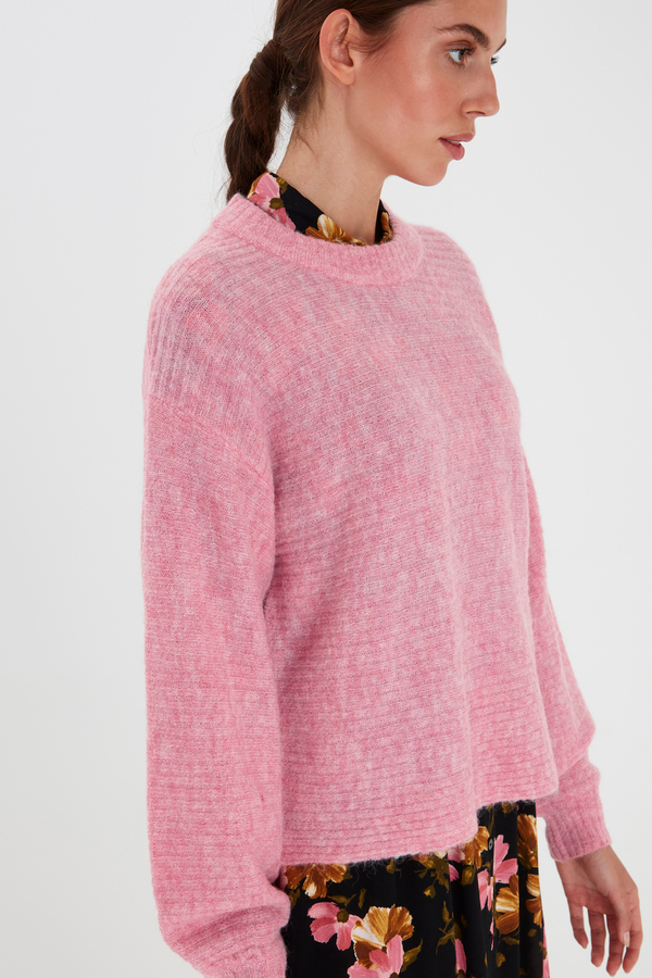 Amara Pink Ribbed Jumper
